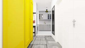 Przedpokój Magdy - Mieszkanie z żółtą szafą