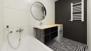 Łazienka z czarno-białym motywem Aparici - widok od strony wanny