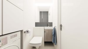 Elegancka toaleta z dużym lustrem - widok na lustro