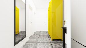 Przedpokój Magdy - Mieszkanie z żółtą szafą widok od strony kuchni