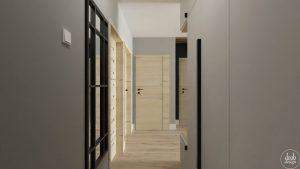 Przedpokój z elementami w stylu loft Jana Pawła II w Ełku - szafa z siedziskiem, widok od wejścia