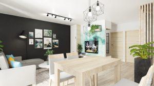 Salon z aneksem z elementami loft - Jana Pawła II w Ełku - widok od kuchni